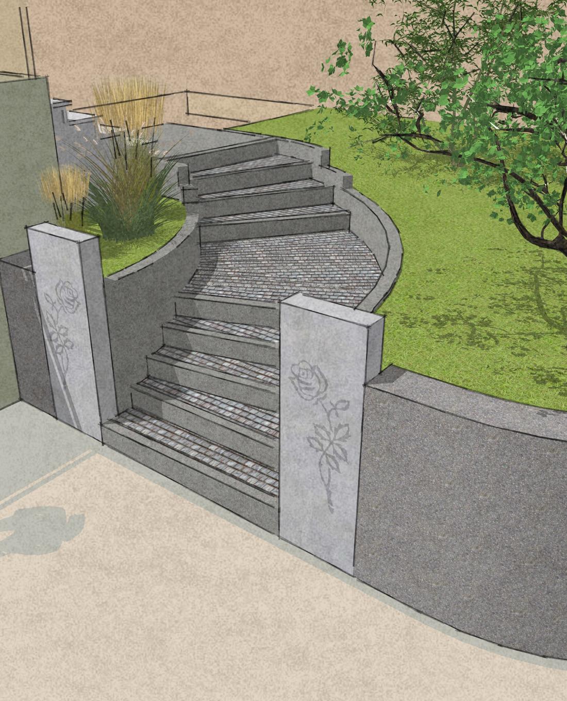 Objektplaung Planskizze Außenbereich Treppe