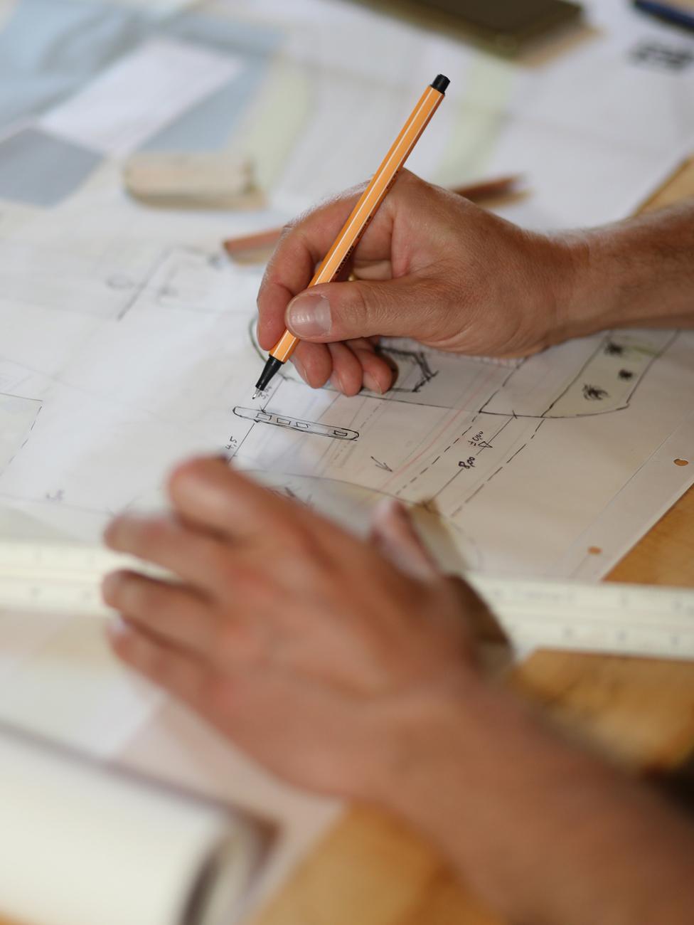 Objektplanung im Planungsbüro | Handskizze
